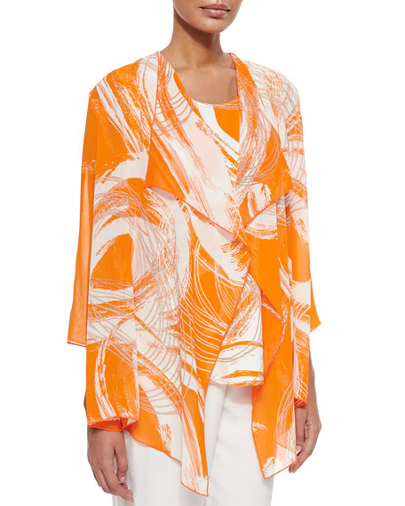 Caroline Rose Orange Swirl Draped Jacket, Petite