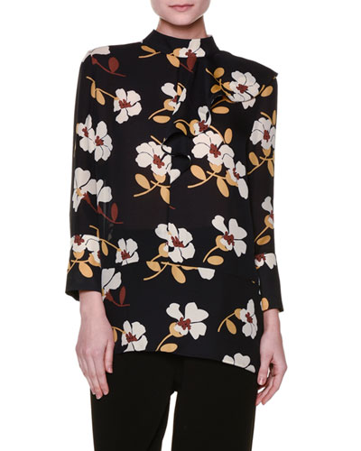 Floral-Print Georgette Mock-Neck Blouse, Black