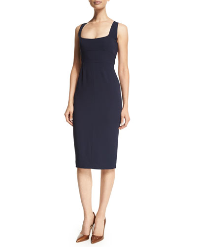 Square-Neck Open Back Sheath Dress, Navy
