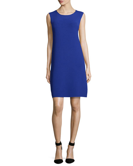 Armani Collezioni Round-Neck Pyramid Knit Shift Dress, Purple