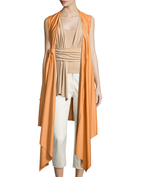 Sleeveless Wool-Blend Wrap Vest, Sunset