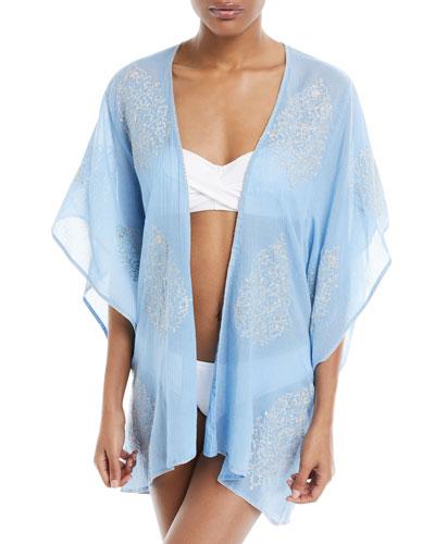 Auberge Embroidered Kimono Coverup