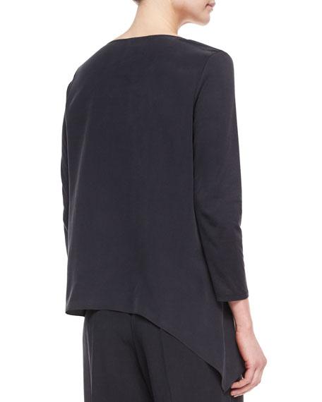 Spliced Asymmetric Silk Tunic, Petite