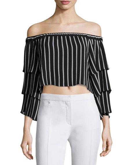 NICHOLAS Off-The-Shoulder Striped Crop Top, Black/White