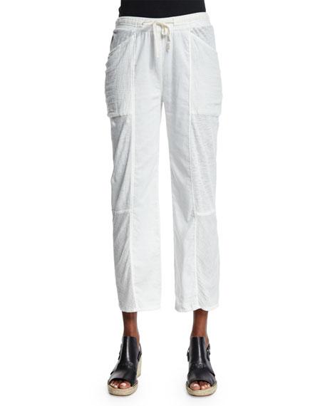 Skin Meryl Straight-Leg Cropped Pants, Crane White