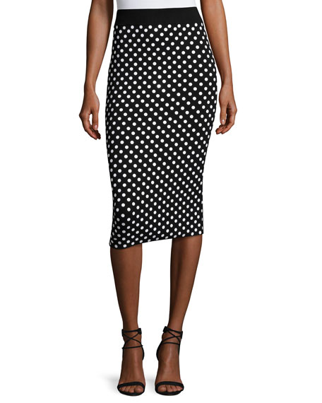 Polka-Dot Pencil Skirt, Black/White