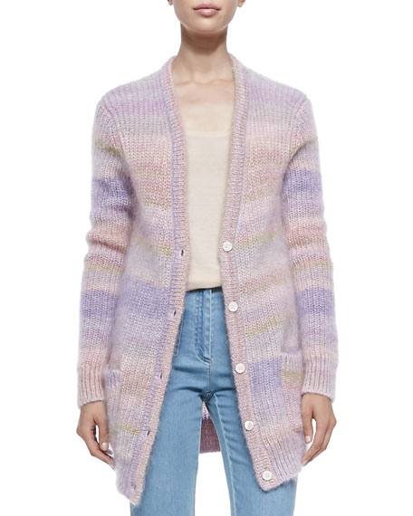 Michael Kors Collection Long Shaker-Knit Cardigan, Thistle/Blush