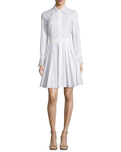 Crystal-Eyelet Trim Long-Sleeve Shirtdress, Optic White