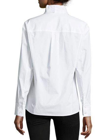 Origami-Collar Poplin Blouse, White