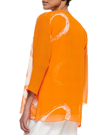 Orange Swirl Draped Jacket, Plus Size