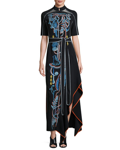Squiggle-Embroidered Cady Midi Dress, Black