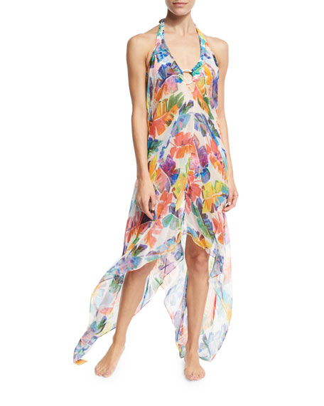 Milly Katrina Banana Leaf Chiffon Coverup Dress, Multicolor