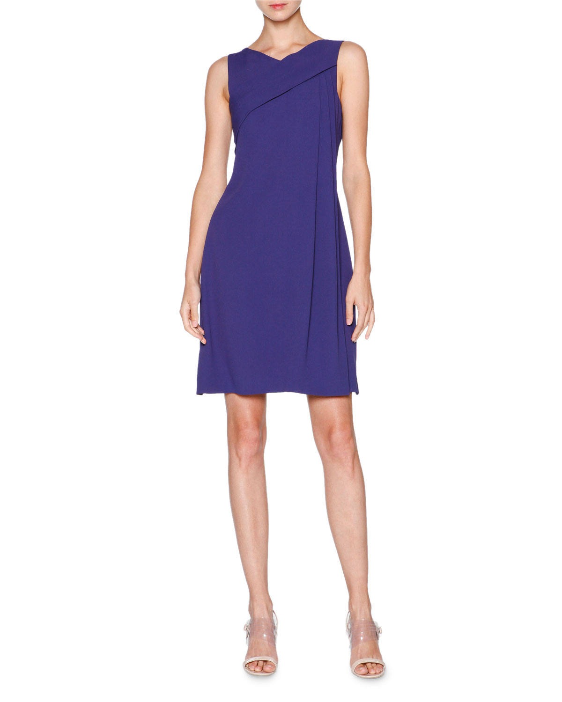 Giorgio Armani Sleeveless Grecian-Drape Dress, Indigo | Neiman Marcus