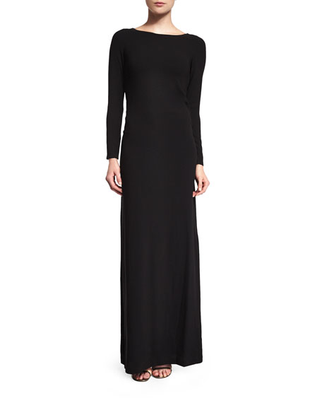 Halston Heritage Bateau-Neck Embellished-Back Gown, Black