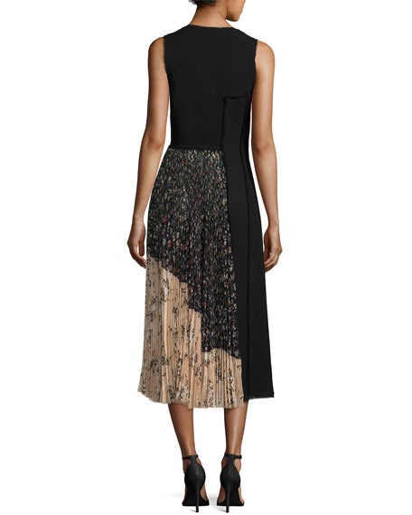 Fringed Faux-Wrap Dress w/Chiffon Panel, Black