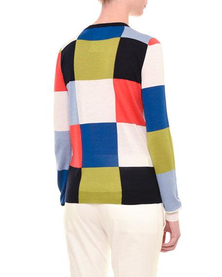 Long-Sleeve Geometric-Square Top, Multi Colors