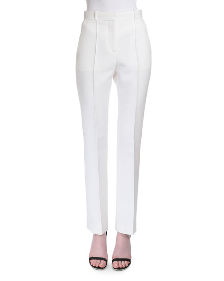 Reversible-Seam Skinny-Leg Trousers, White