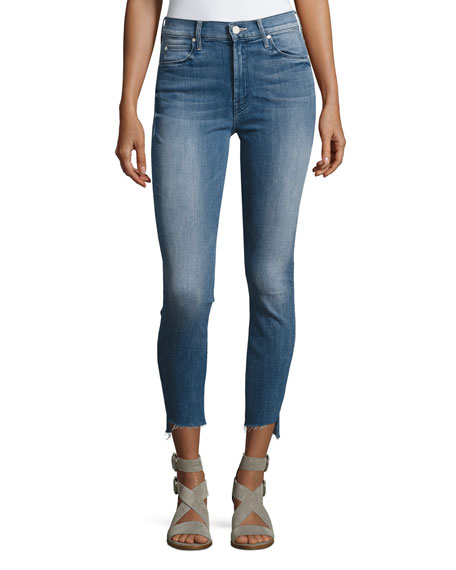 MOTHER Stunner Zip Ankle Step Fray Jeans, Blue