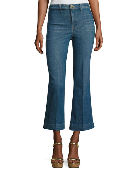 The Great The Sea Crop Flare-Leg Jeans, Clear