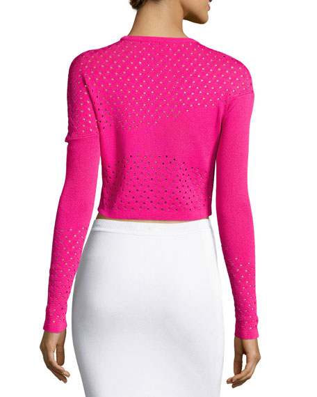 Perforated Knit Cropped Sweater, Cheeky Pink