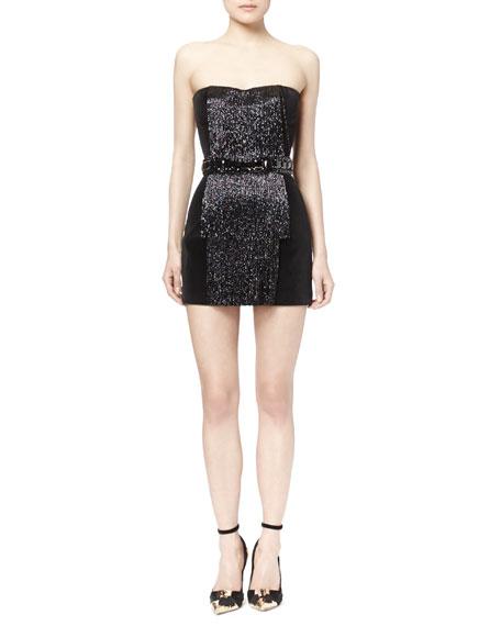 Strapless Beaded Velveteen Dress, Noir
