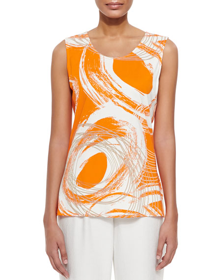 Caroline Rose Orange Swirl Longer Tank, Petite