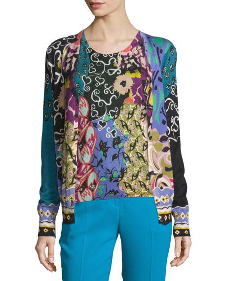 Etro Patchwork Printed Silk/Cashmere Cardigan, Blue/Purple