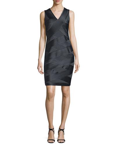 Sleeveless Crisscross Ponte Dress, Charcoal