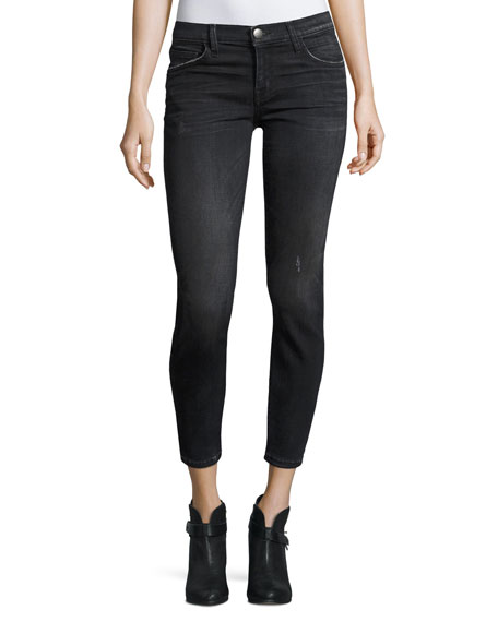 Current/Elliott The Stiletto Cropped Skinny Jeans, Black