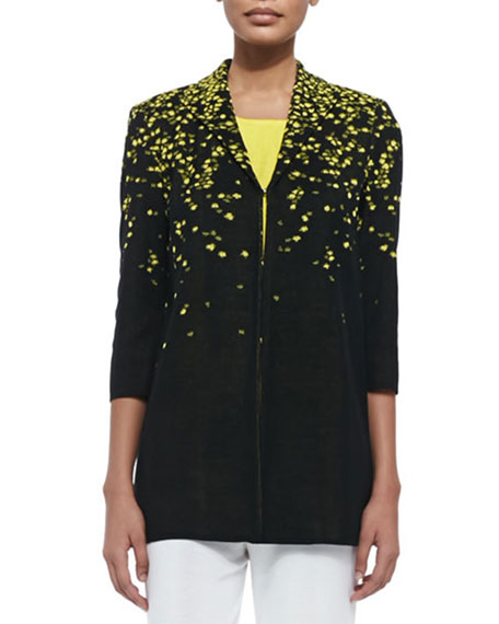 3/4-Sleeve Speckled-Shoulder Long Jacket