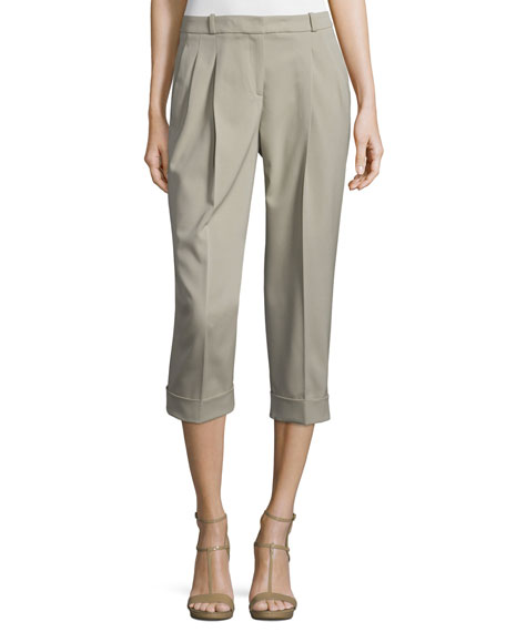 Michael Kors Pleated-Front Slouch Capri Pants, Sand