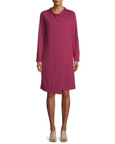 Long-Sleeve Drape-Front Knit Dress, Plus Size