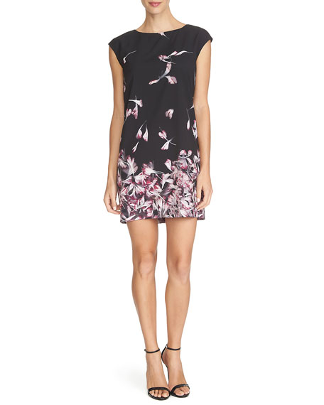 Cynthia Steffe Cap-Sleeve Floral-Print Mini Dress, Rich Black