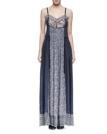 Chloe Sleeveless Bicolor Mixed-Media Maxi Dress, Navy