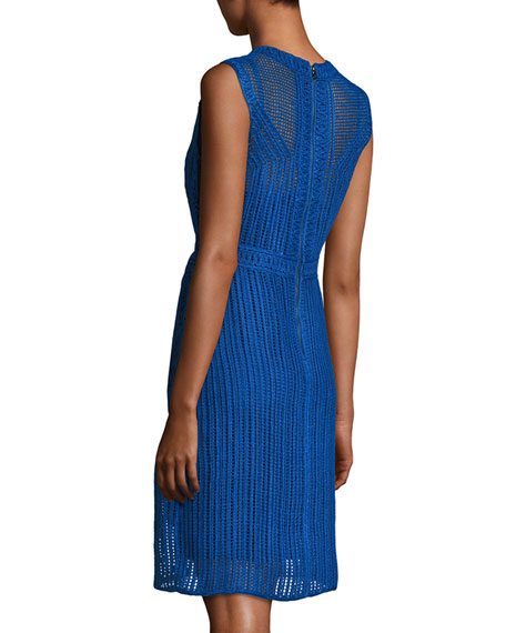 Jaydyn Sleeveless Crocheted Cotton Dress, Blue