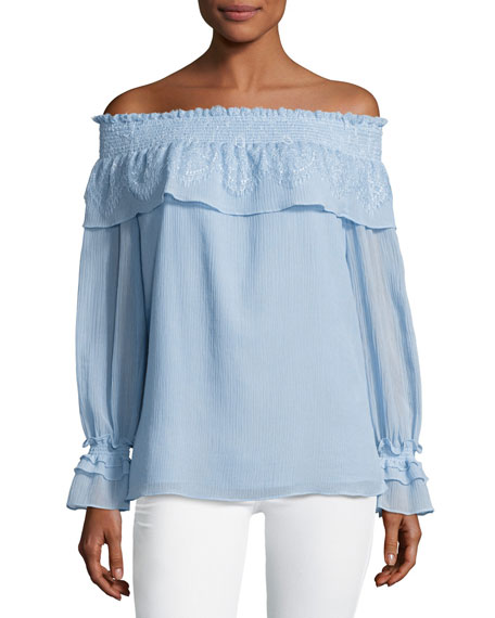 Kobi Halperin Louella Ruffled Off-the-Shoulder Blouse, Blue