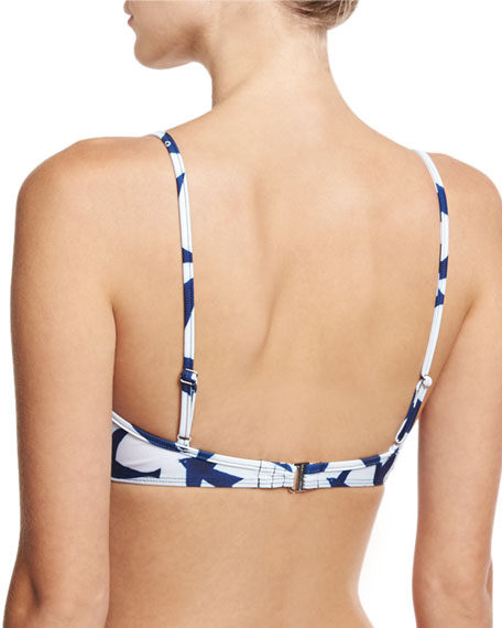 Bird-Print Underwire Swim Top, White/Blue