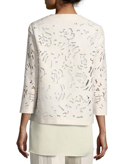Lavish Embroidered Floral-Cutout Linen Jacket, Light Beige