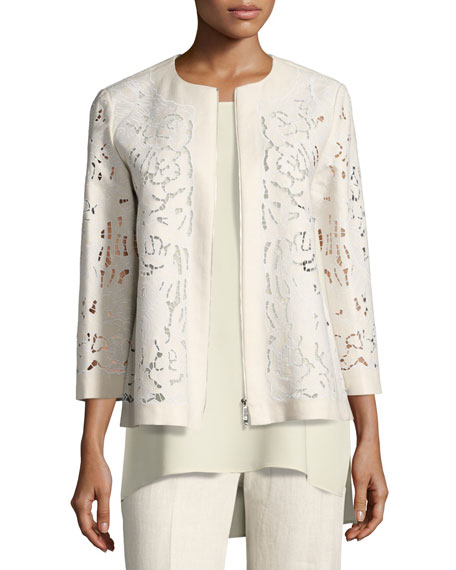 Lafayette 148 New York Lavish Embroidered Floral-Cutout Linen