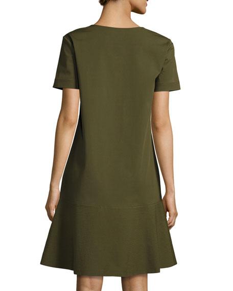 Vinita Short-Sleeve Bi-Stretch Dress, Dark Green