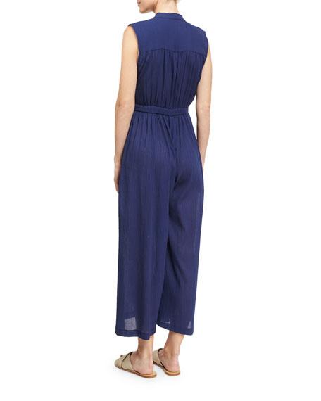 Gathered Wide-Leg Organic Cotton Coverup Jumpsuit, Blue