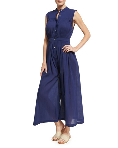 Gathered Wide-Leg Organic Cotton Coverup Jumpsuit, Blue