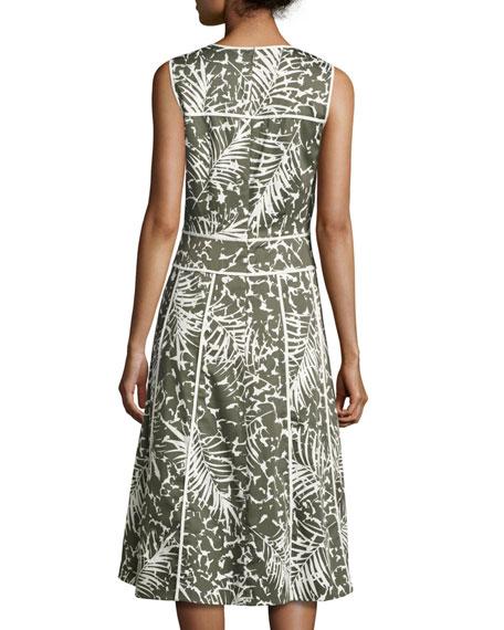 Emlia Sleeveless Grove Palm-Print Stretch-Cotton Dress, Multi