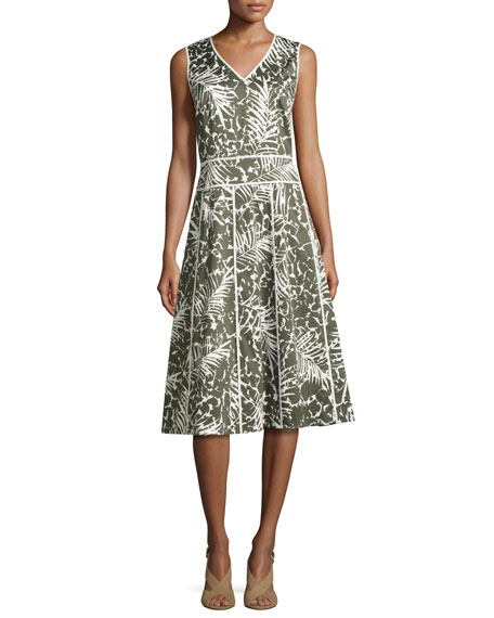Lafayette 148 New York Emlia Sleeveless Grove Palm-Print