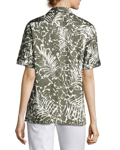 Damon Short-Sleeve Grove Palm-Print Stretch-Cotton Blouse, Multi