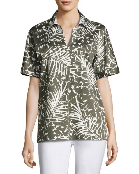 Lafayette 148 New York Damon Short-Sleeve Grove Palm-Print