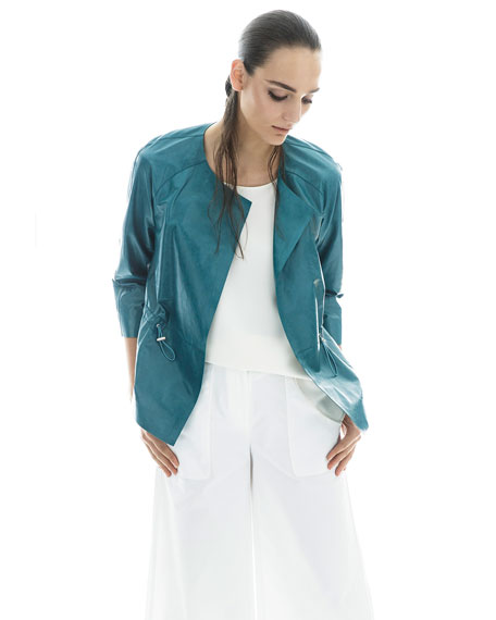 Kieran Lacquered Lamb Leather Jacket, Teal