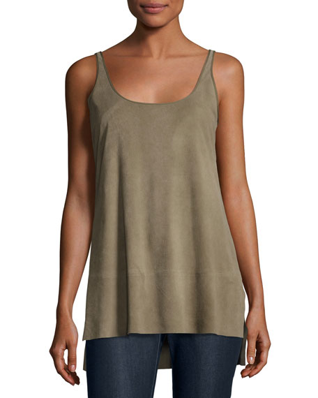 Split Lamb Suede Tank, Dark Green