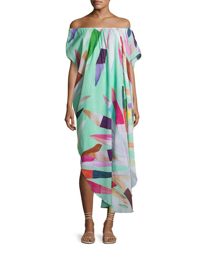Off-the-Shoulder Printed Cotton Gauze Dashiki Coverup Dress, Multicolor