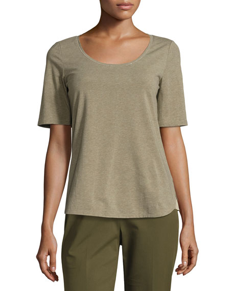 Lafayette 148 New York Chain-Trim Scoop-Neck Melange Jersey